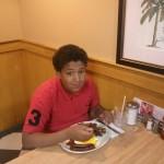 Daijon having breakfast.